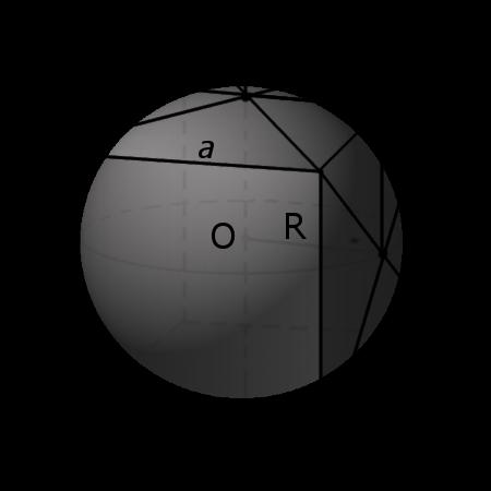 сфера вписана в куб с обозначениями
