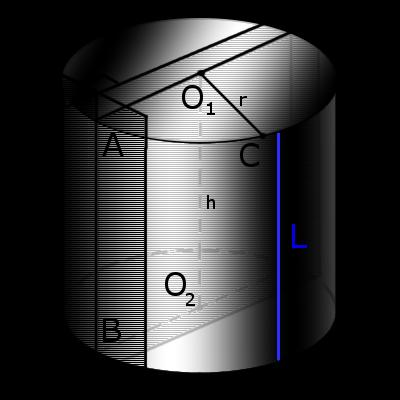 Изображение прямого цилиндра с обозначениями
